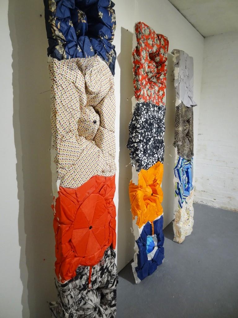 Sophie Giller, Umbrella Reliefs (Rectangle) No. 1, 2 & 3, Plaster and Umbrellas