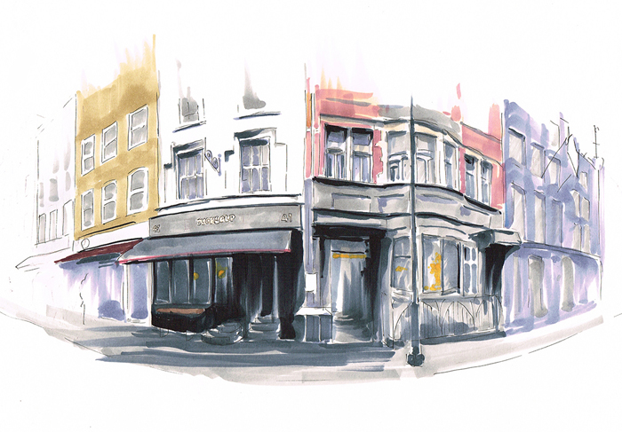 Ewelina Terczynska (FdA Illustration) - Disappearing London - Illustration of Soho