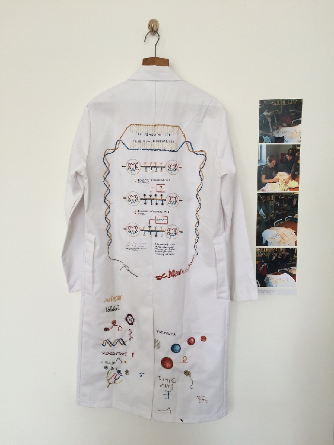 Embroidered lab coat produced by Sculpture Pathway student Georgia Ward Dyer.