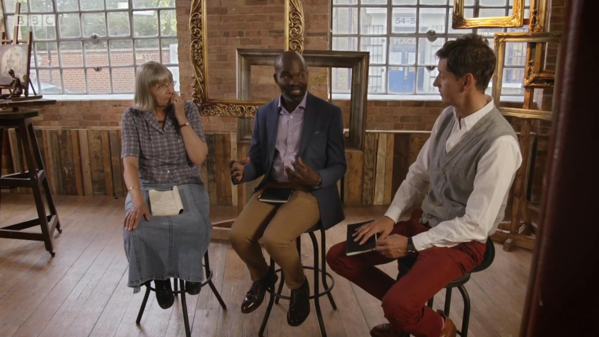 David Dibosa (centre) appears with fellow judges Daphne Todd OBE (left) and Lachlan Goudie (right) on BBC One's Big Painting Challenge on Sunday 12 February 2017.