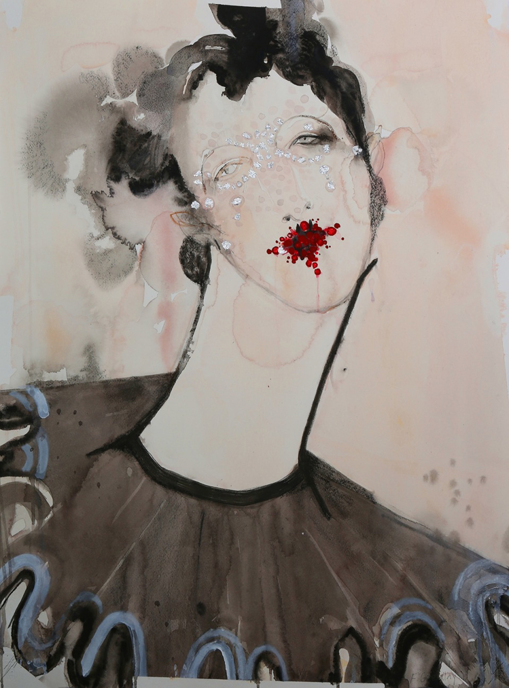 BA (Hons) Fashion Illustration alumna Fiona Gourlay collaborated with SHOWstudio for a project called: A Beautiful Darkness - Widow Series. Image Credit: Fiona Gourlay