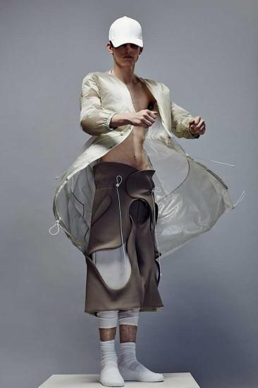 Menswear by Jonwoong Bang, BA Fashion Design Technology: menswear. Photographer: James Rees , Creative Direction: Rob Phillips, Hair: Ezana Ové, Beauty: Kirsty Gaston