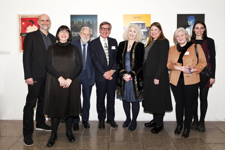 Left to right: Clive Baillie, LCC Alumnus & CEO of Hollywood marketing agency BLT Communications; Natalie Brett, Pro Vice Chancellor LCC; Lord Puttnam, award-winning film producer & educator; Nigel Carrington, UAL Vice Chancellor; Anne Morrison, Deputy Chair of BAFTA; Larra Anderson, LCC Dean of Screen; Kate O'Connor, screen education consultant and former Executive Director of Creative Skills Set; and Paris Baillie (daughter of Clive Baillie) at exhibition of work by Screen School students. Images © Ana Escobar