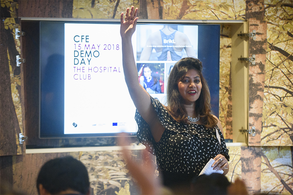 Fashion Design Management alumna Ishwari Thopte speaking at a CFE Demo Day