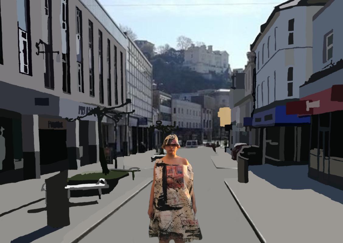 Woman on the street dressed in a billboard dress