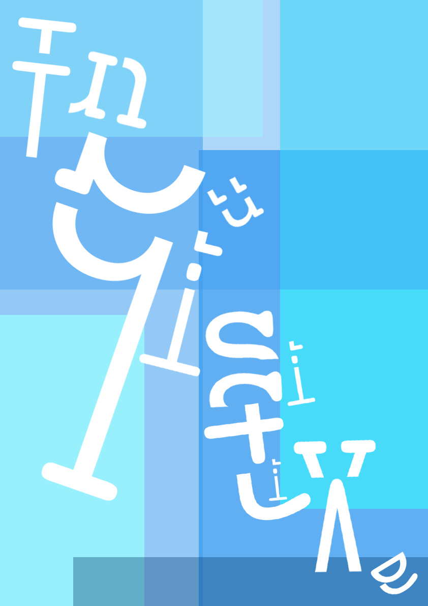 A piece of work by Abbie David with the word 'Inquisitive' jumbled up against a blue background
