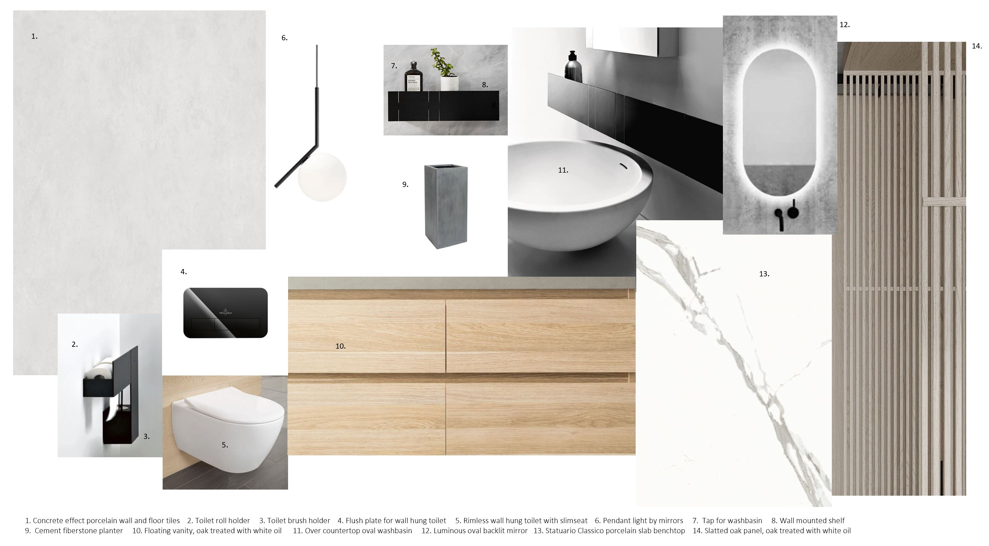 A moodboard of designs for a bathroom space by Triinu Oll