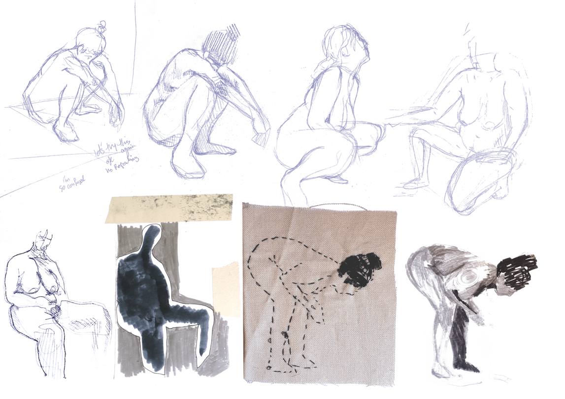 Sketches by Layan Barazi of a woman squatting down