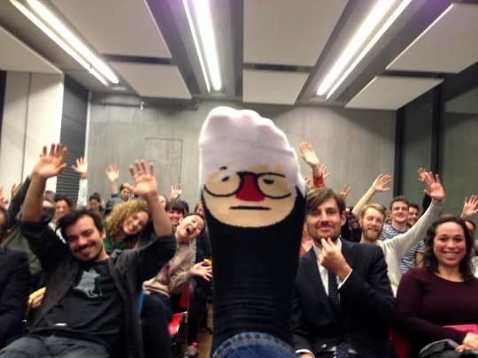 'Sock selfie' taken during the ChattyFeet event