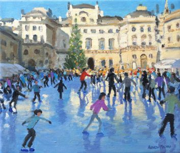 Painting of ice skaters at Somerset House