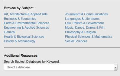 browse by subject or collection