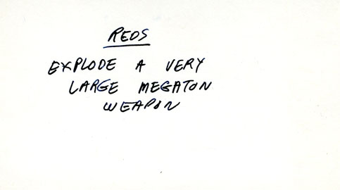 Pre-production Index card containing story development point, c1963
