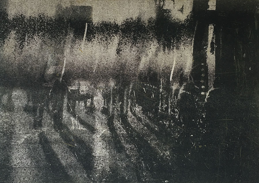 inkjet print and etching on paper