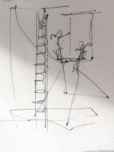 Circus Drawing by first year Drawing student Ana Afonso at the Circus Space Workshop