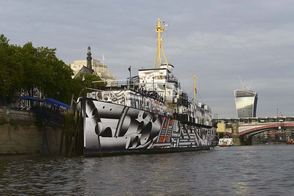 1918 warship HMS President, in 'dazzle' decoration as part of 14-18 NOW, co-commissioned by Chris Wainwright in 2014.