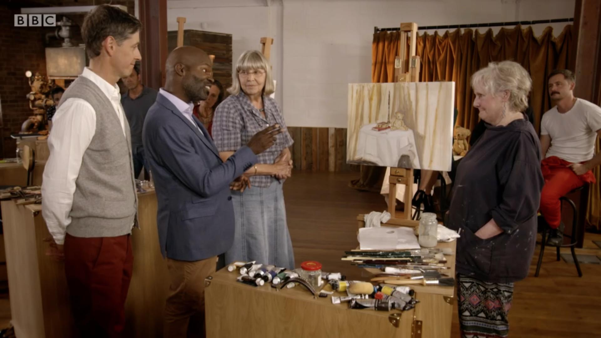 David Dibosa (second from left) reflects on a contestant's work on BBC One's Big Painting Challenge on Sunday 12 February 2017.