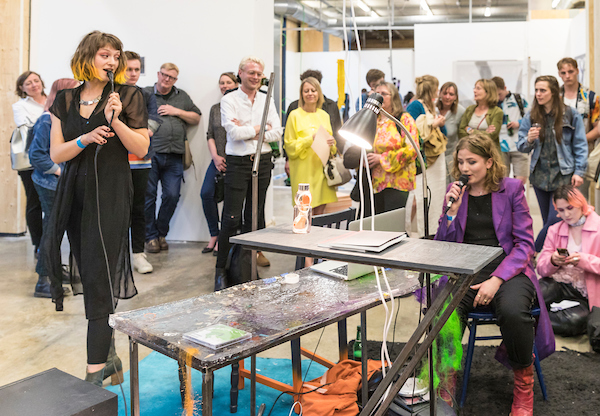 Eleanor Strong and Lucie McLaughlin performing at the Private View (photo: John Sturrock)