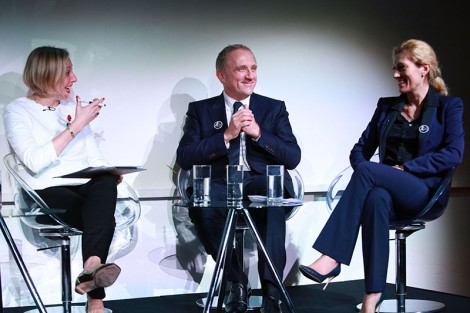 Francine Lacqua Editor-at-Large for Bloomberg Television,  François-Henri Pinault Chief Executive Officer of Kering and  Marie-Claire Daveu, Chief Sustainability Officer and Head of International Institutional Affairs at Kering. Photograph, Alex Maguire
