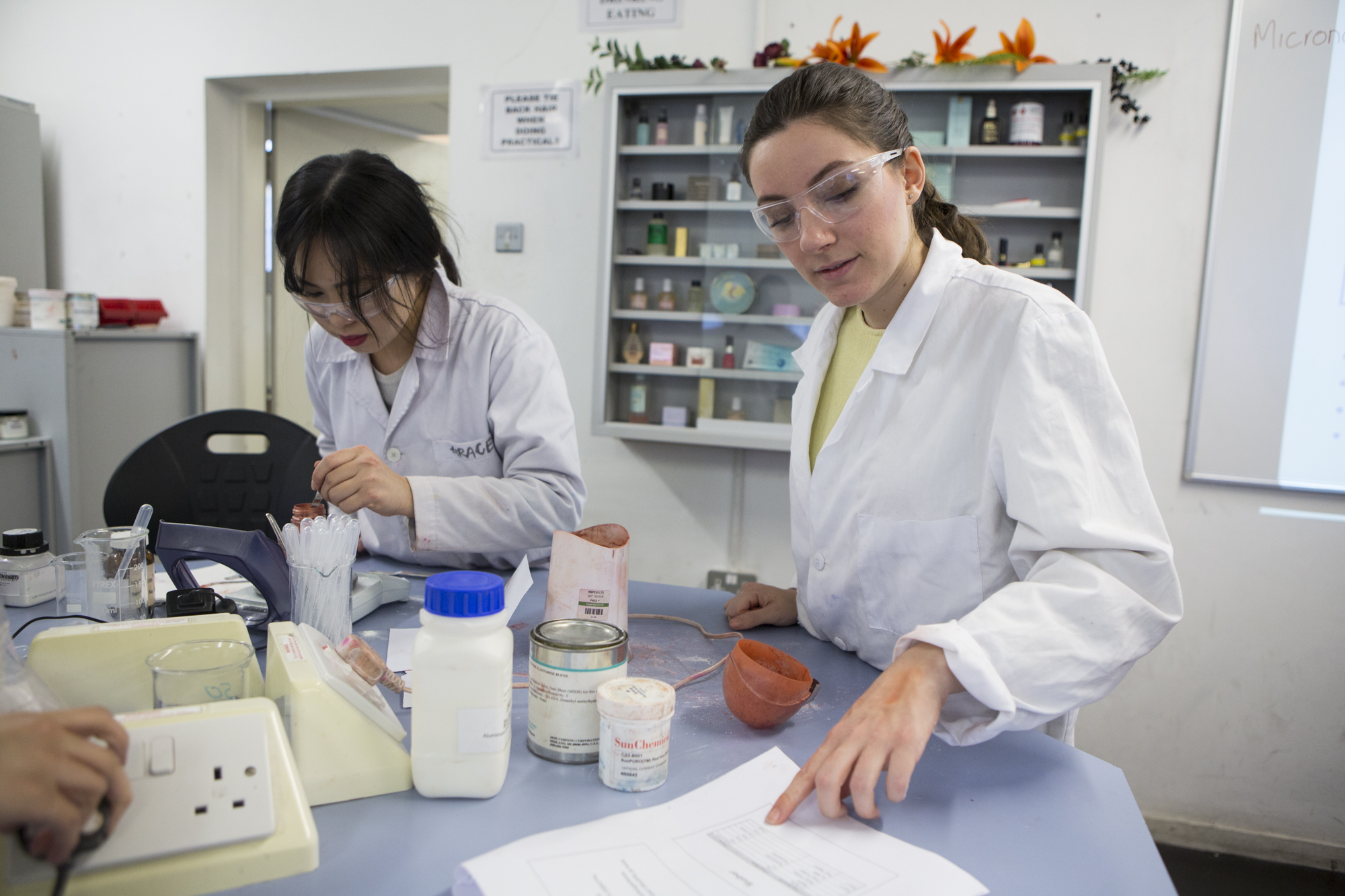 Students working in lab.