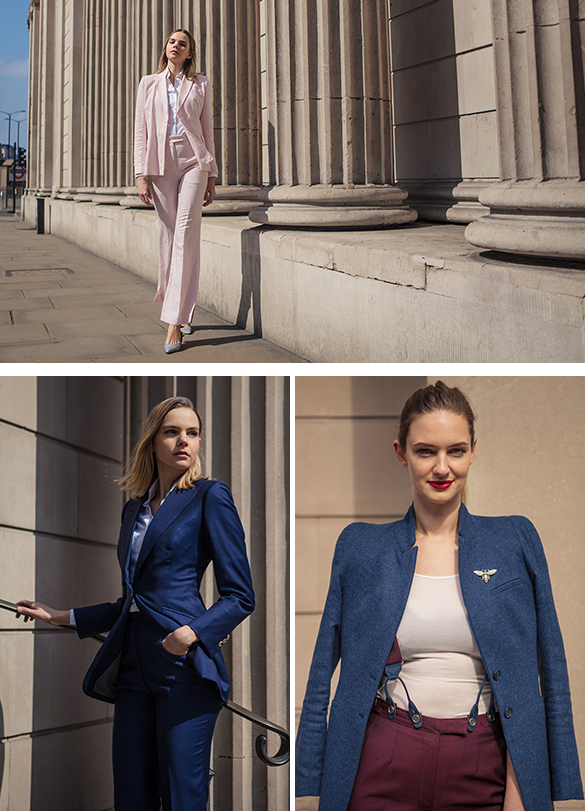 Three images of women walking in the city wearing tailored suits