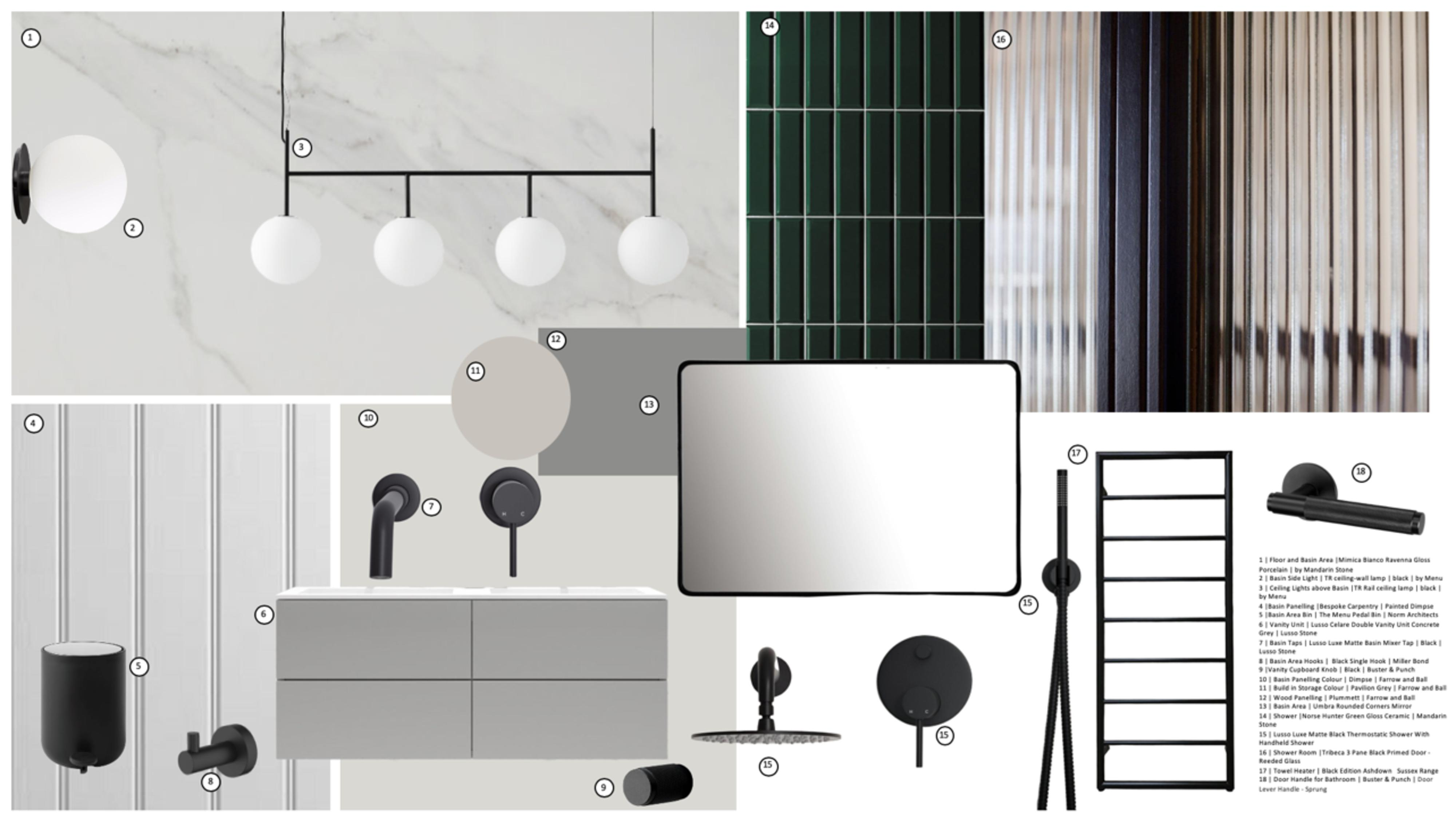 Digital image of concept board of ideas including wall lights, mirrors and tiles