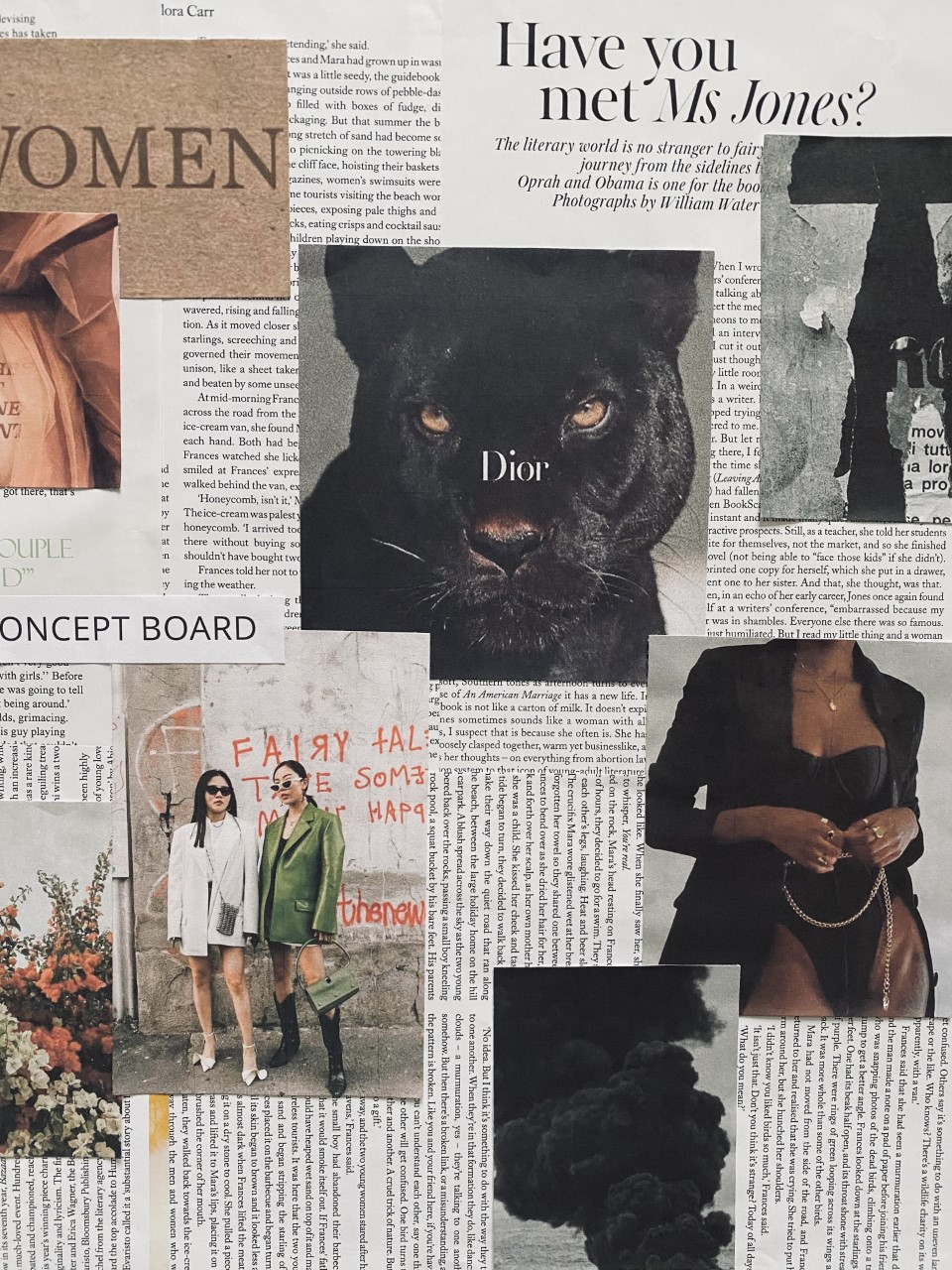 A collection of magazine cut outs that Molly Hood used as reference points for her work