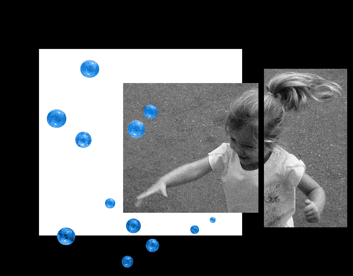 Work by Abbie David titled 'Playful' showing a little girl playing with bubbles in black and white