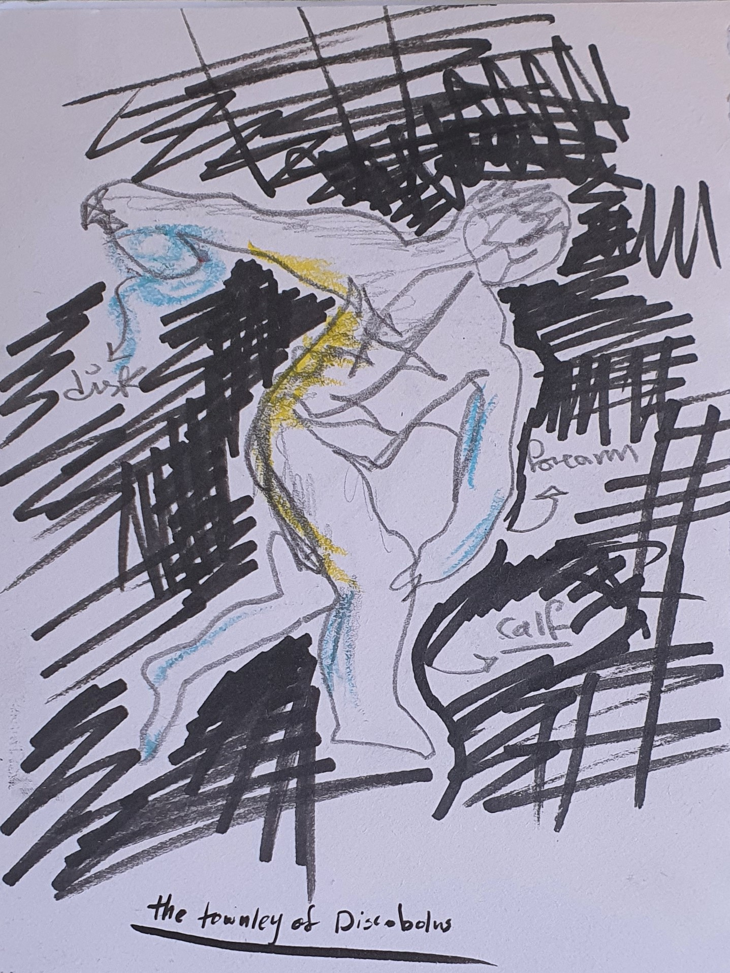 Sketch by Layan Barazi of a human figure leaning forward