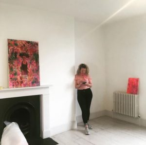 Doireann installing 'I Am A Beautiful Monster'