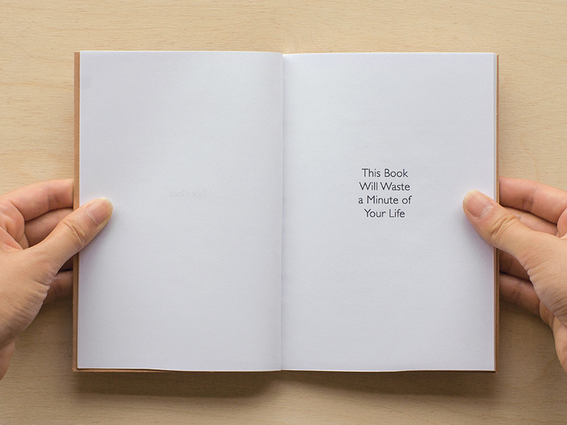 'Tick / Tock' rewards the reader who takes a second look at this book. Seemingly simple in content, Tick / Tock offers a humorous take on time whilst engaging thoughts about layered history and linear time. Printed and bound by hand, presented in an edition of 30. Dimensions - 12.6 x 18.1cm (wxh), inkjet printed onto 100gsm paper, bound in a 300gsm card cover. Tick / Tock has been purchased by collectors and is housed in the Artists' Book Collection at the Baltic Centre for Contemporary Art library.