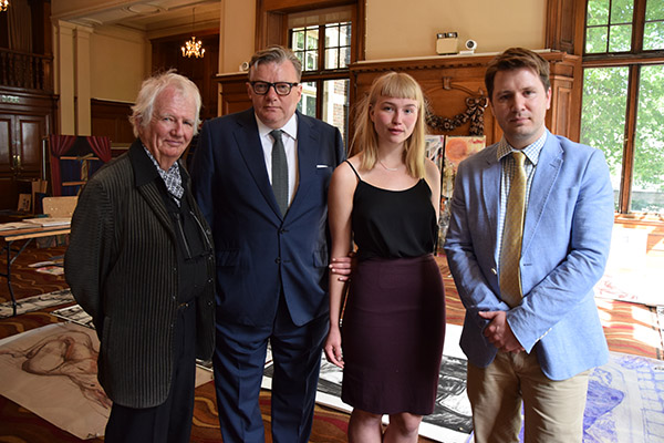 (l-r) Ken Howard, Ian Rowley, Anna Jespersen and Ben Sullivan at Chelsea College of Arts in June 2015, photographed by Gavin Freeborn.