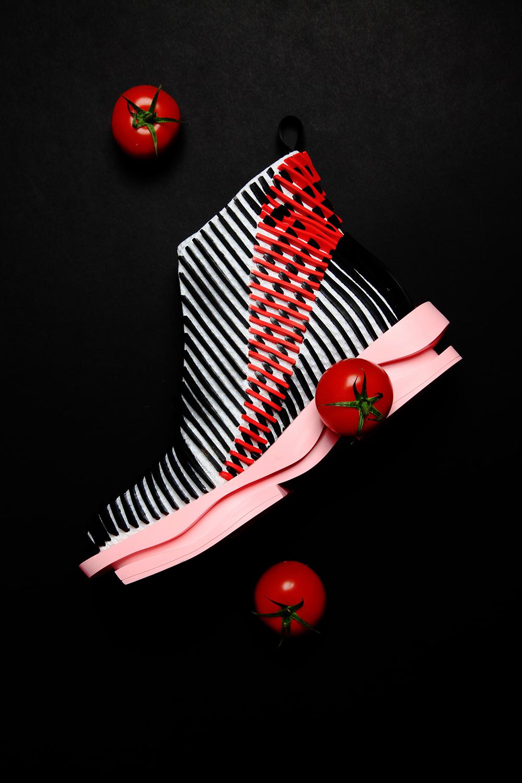 MA Footwear student Chengxu Tian. Photography by Chen Chen.