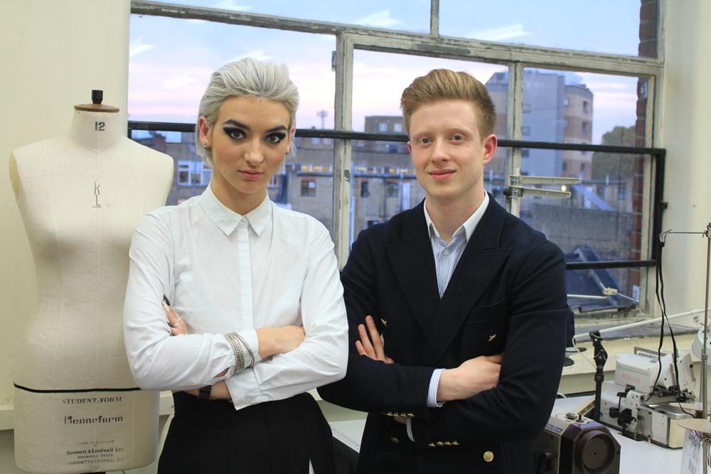 Ba Bespoke Tailoring students Kimberley Lawton and Tomas Cerniauskas