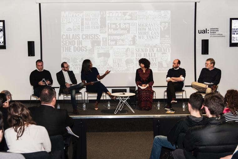 Beyond Borders panel (l-r): Tom Law, Abdulwahab Tahhan, chair Claudia-Liza Armah and Shahd Abusalama, Maurice A Wren. Image © Ana Escobar.
