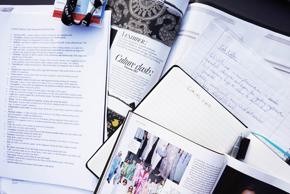 Vogue and notebooks.