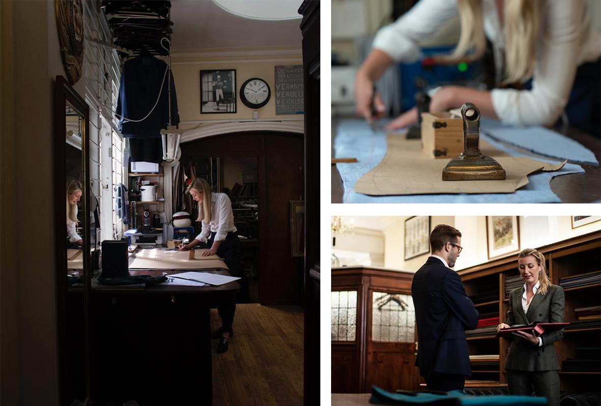 Three images of Caroline Andrew in her tailoring studio