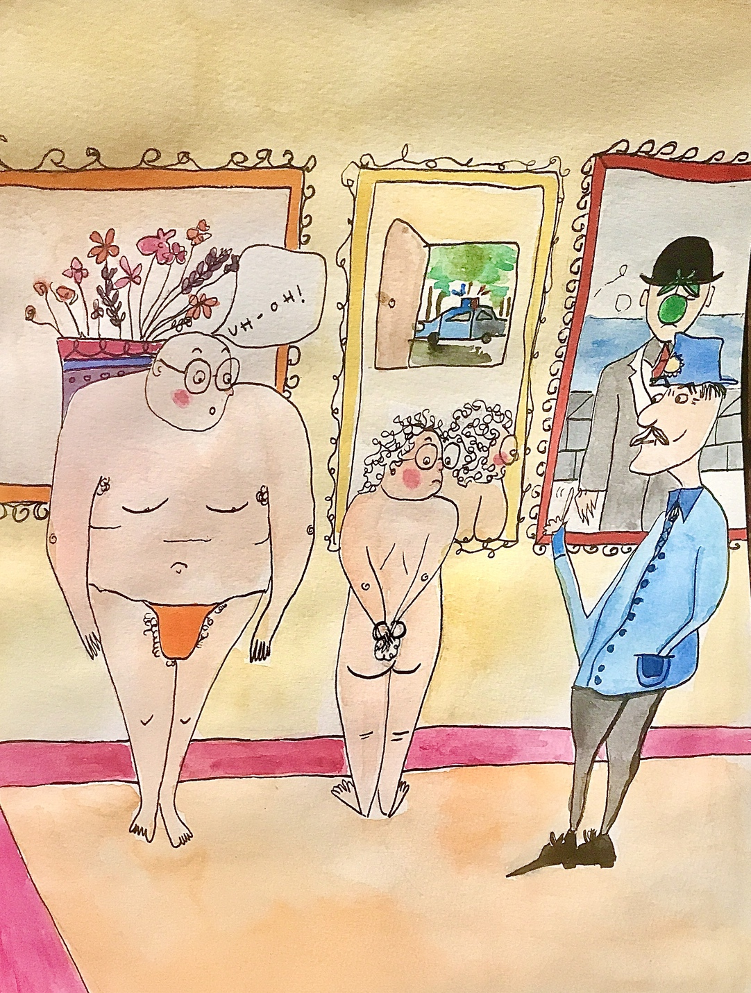 An illustration of an elderly couple standing naked and embarrassed as a police officer looks on