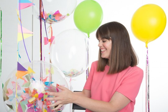 Rebecca Moyster with balloons