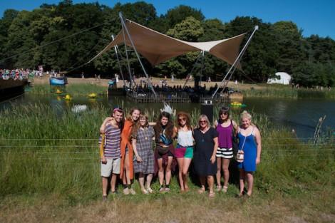 Textiles lecturers Kathy Round & Melanie Bowles with their graduates ©gavinfreeborn