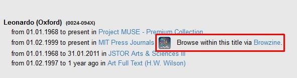 Browzine title links