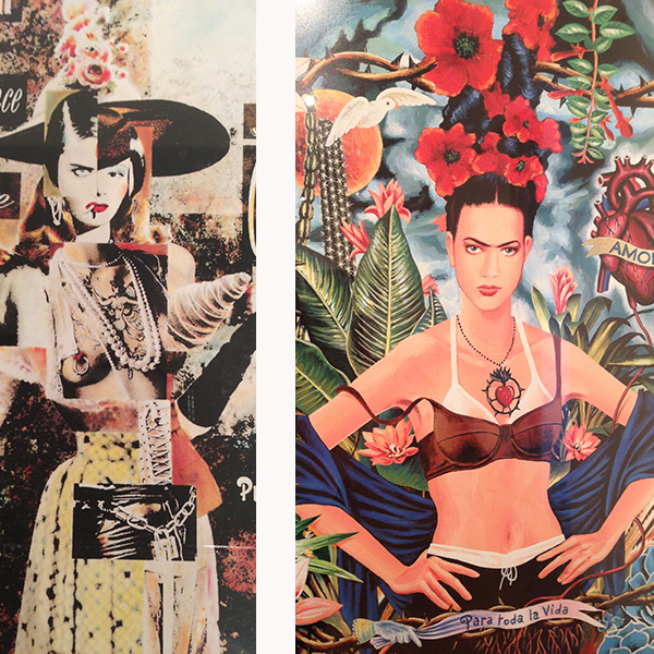 Details from two Jean Paul Gaultier campaign designs