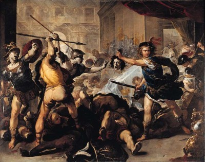 London National Gallery Next 20 12 Luca Giordano - Perseus turning Phineas to Stone