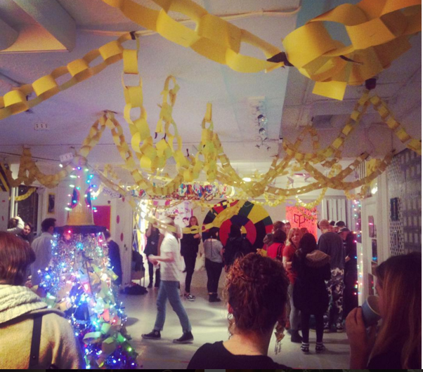 BA Graphic Design Post Modern Christmas Party is underway, fully decorated including twinkle lights and a strong yellow themed colour