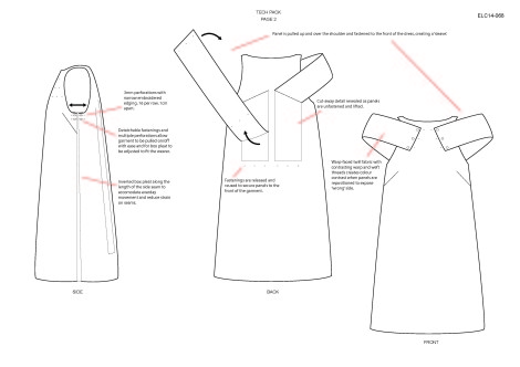 Garment technical drawings, courtesy of the artist.
