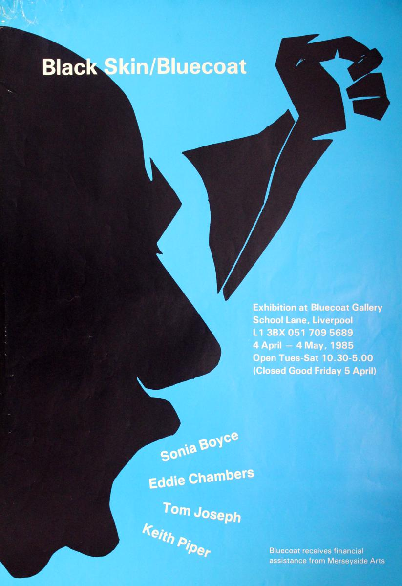 Blue and black exhibition poster