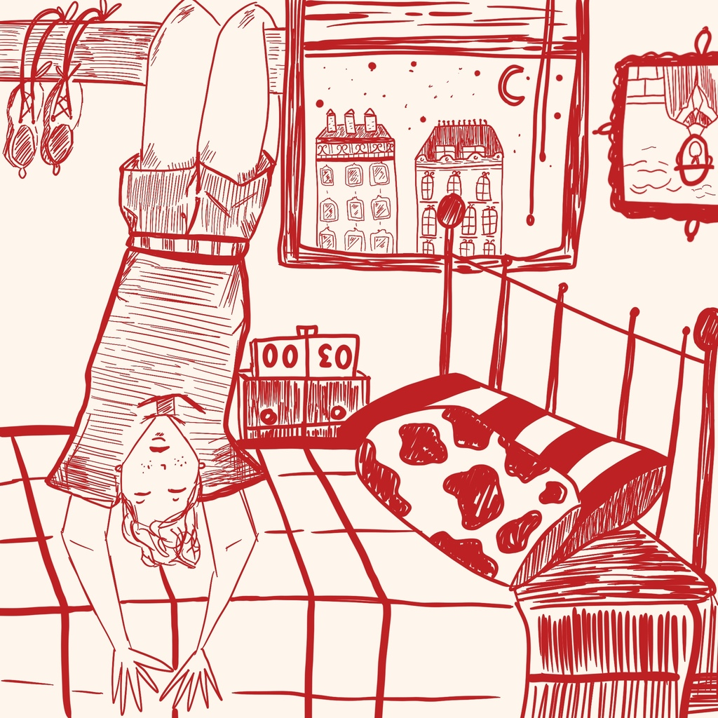 An illustration of a young person hanging upside down relaxing in their bedroom