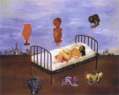 A painting by Frida Kahlo showing a woman lying in a hospital bed