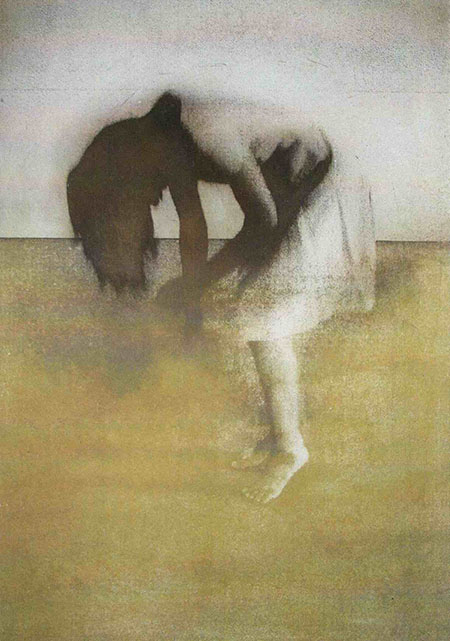 a dancer leans forwards