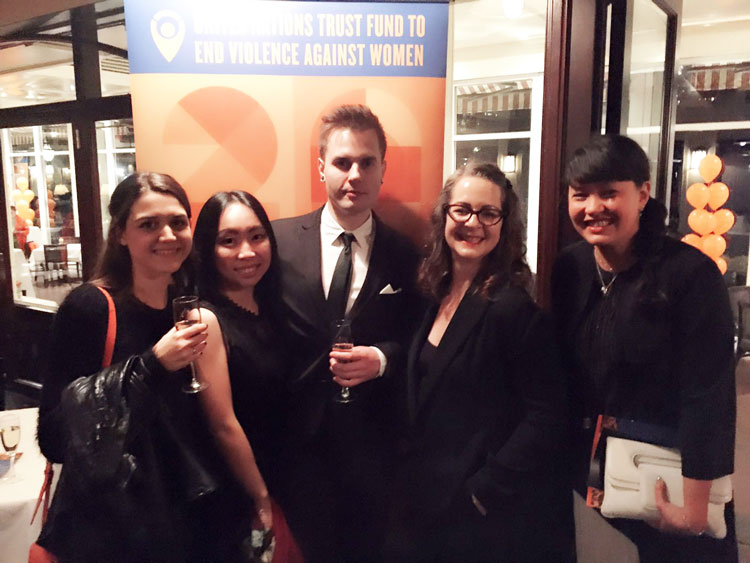 The winning students at the Gala with Head of LCF Professor Frances Corner and Ligaya Salazar Director of Fashion Space Gallery