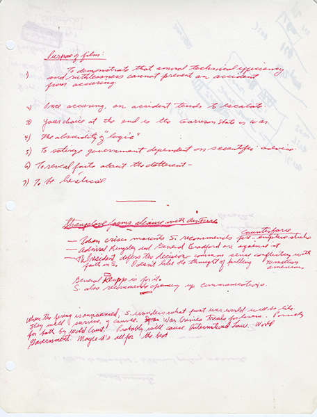 Handwritten document Purposes of the film Image from the Stanley Kubrick Archive held at the University of the Arts London supplied with thanks to the SK Film Archives LLC, Sony Colombia, the Kubrick family, and University of the Arts London